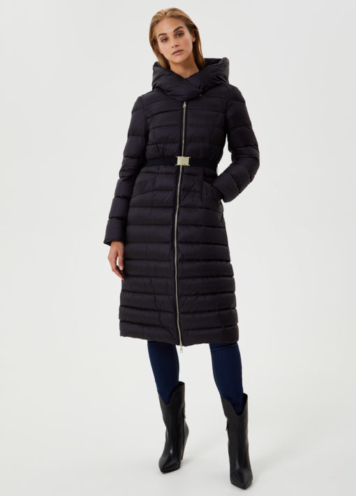 Long down jacket with belt LF0002T560222222