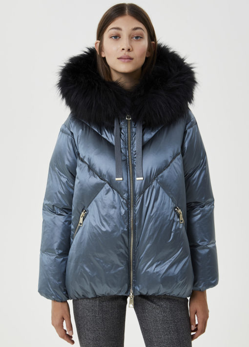Quilted down jacket with fur insert LF0005T4573X0330